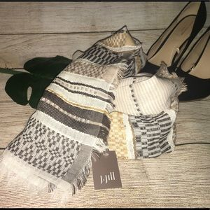 J Jill Cream Multi (brown/tan) scarf  NWT